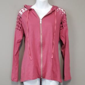 Monoreno Pink Lace Cut Out Zip Up Hoodie Size S